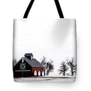 Barn In The Snow Tote Bag