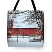 Barn In The Winter Tote Bag