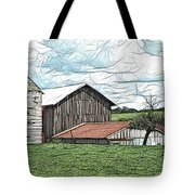 Barn Landscape Colored Pencil Chicken Scratch Effect Tote Bag