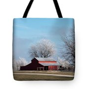 Barn On Frosty Morn Tote Bag