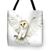 Barn Owl Flying Watercolor Tote Bag
