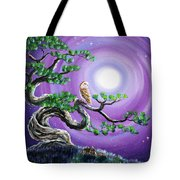 Barn Owl In Twisted Pine Tree Tote Bag