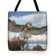 Barn Owl Makes A Happy Landing Tote Bag