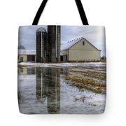 Barn Reflection After A Snowstorm Tote Bag