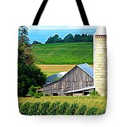 Barn Silo And Crops In Nys Expressionistic Effect Tote Bag