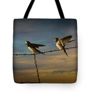 Barn Swallows On Barbwire Fence Tote Bag