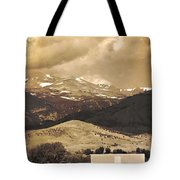 Barn With A Rocky Mountain View In Sepia Tote Bag