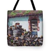 Barn With Log Pile Tote Bag
