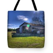 Barn With Sun Flare Tote Bag