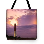 Barnegat Lighthouse Stormy Sunset Tote Bag