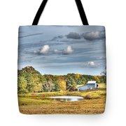 Barns And Pond On A Fall Day Tote Bag