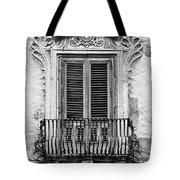 Baroque Balcony Window. Messina, Sicily.    Black And White Tote Bag