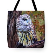 Barred Owl In The Rain Oil Painting Tote Bag