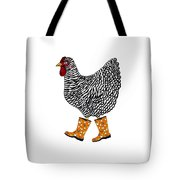 Barred Rock With Boots Tote Bag