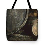 Barrels Of Wine In A Wine Cellar. France Tote Bag