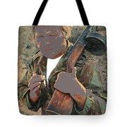 Barry Sadler With Machine Gun On His Shoulder Tucson Arizona 1971-2015 Tote Bag
