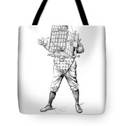Baseball Catcher Cage - Restored Patent Drawing For The 1904 James Edward Bennett Catcher Cage Tote Bag