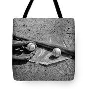 Baseball Game In Black And White Tote Bag