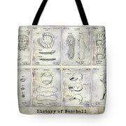 Baseball Patent History Tote Bag