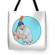 Baseball Player Holding Bat Drawing Tote Bag