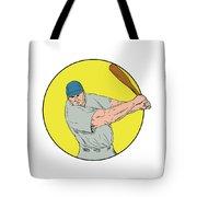 Baseball Player Swinging Bat Drawing Tote Bag