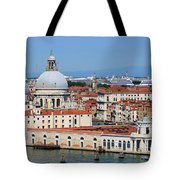 Basilica Della Salute And Punta Della Dogana In Venice Italy Tote Bag