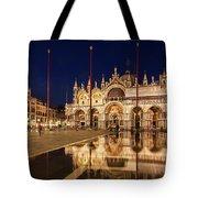 Basilica San Marco Reflections At Night - Venice, Italy Tote Bag