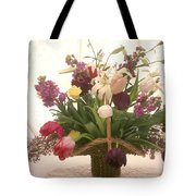 Basket Of Flowers In Window Tote Bag by Garry Gay