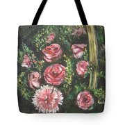 Basket Of Pink Flowers Tote Bag