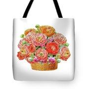 Basket With Ranunculus Flowers Watercolor Tote Bag