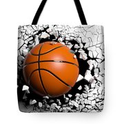 Basketball Ball Breaking Forcibly Through A White Wall. 3d Illustration. Tote Bag