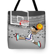 Basketball Player Jumping And Flying To Shoot The Ball In The Hoop Tote Bag