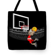 Basketball Player Jumping In The Stadium And Flying To Shoot The Ball In The Hoop Tote Bag