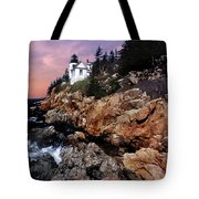 Bass Harbor Head Lighthouse In Maine Tote Bag by Skip Willits