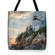 Bass Harbor Lighthouse On Maine Nautical Chart Tote Bag
