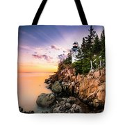 Bass Harbor Lighthouse Sunset Tote Bag