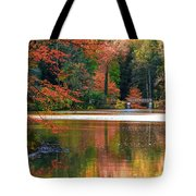 Pond In Autumn Tote Bag