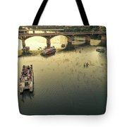Bat Watchers Stand In Tour Boats As The Bats Take Flight During Sunset On The Congress Avenue Bridge Tote Bag