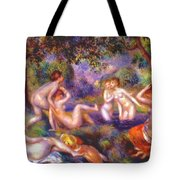 Bathers In The Forest Tote Bag