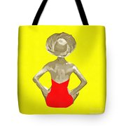Bathing Beauty Red Suit Painting Tote Bag