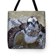 Bathing Osprey Bird Splashing About Tote Bag