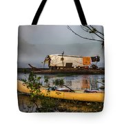 Batteau And Canoe In Fog At Galt's Mill 1708 Tote Bag