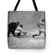 Batter Swings Strike At Home Plate Tote Bag