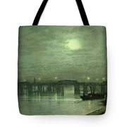 Battersea Bridge By Moonlight Tote Bag by John Atkinson Grimshaw