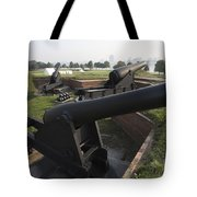 Battery Of Cannons At Fort Mchenry Tote Bag