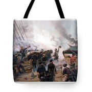 Battle Between Kearsarge And Alabama Tote Bag