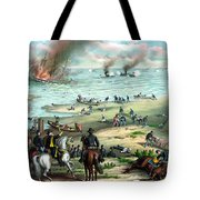Battle Between The Monitor And Merrimac Tote Bag