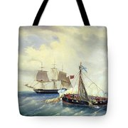 Battle Between The Russian Ship Opyt And A British Frigate Off The Coast Of Nargen Island  Tote Bag