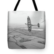 Battle Of Britain Spitfire Black And White Version Tote Bag