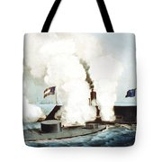 Battle Of The Monitor And Merrimack Tote Bag